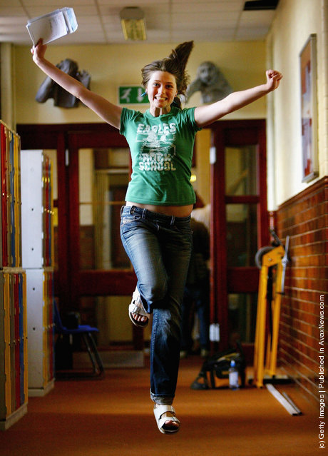Girl celebrates passing her GSCE exams with A's