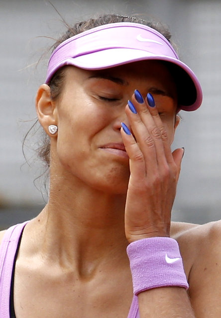 Vitalia Diatchenko of Russia reacts during the women's singles match against Stefanie Voegele of Switzerland at the French Open tennis tournament at the Roland Garros stadium in Paris, France, May 25, 2015. (Photo by Vincent Kessler/Reuters)
