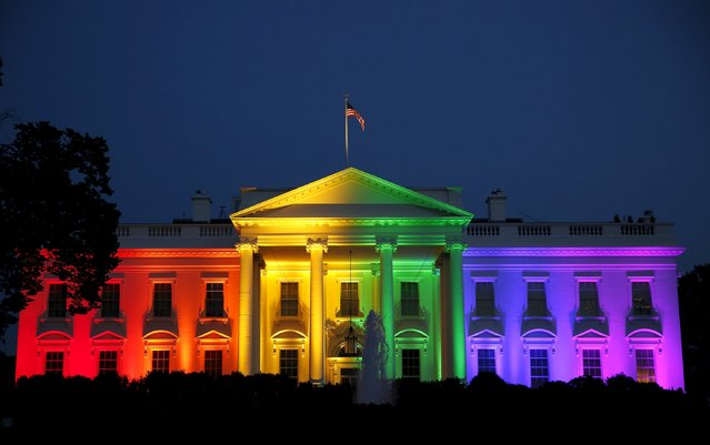 The White House is illuminated in rainbow colors after today's historic Supreme Court ruling legalizing gay marriage in Washington June 26, 2015. (Photo by Gary Cameron/Reuters)