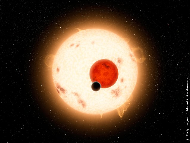 The newly-discovered gaseous planet Kepler-16b orbits it's two stars