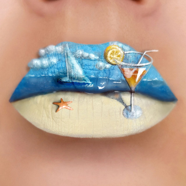 Tutushka's lipstick art work on her lips showing a picture of a shore. (Photo by Tutushka Matviienko/Caters News Agency)