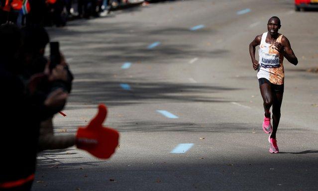 Kenya's Geoffrey Kamworor leads the elite men's race during the New York City Marathon in Manhattan, New York, United States on November 03, 2019. (Photo by Mark Kauzlarich/Reuters)