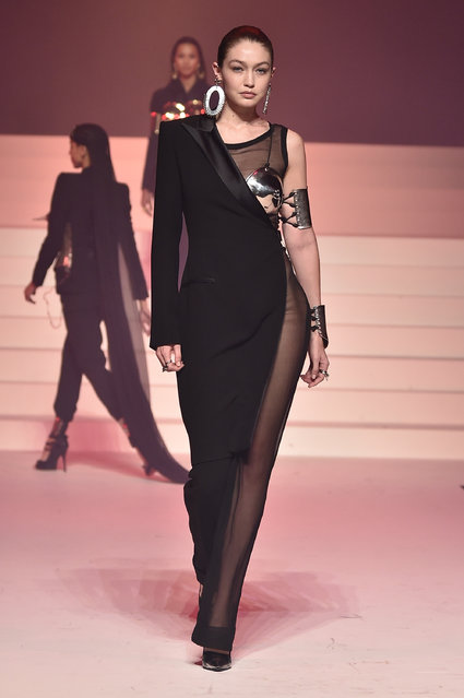 Gigi Hadid walks the runway during the Jean-Paul Gaultier Haute Couture Spring/Summer 2020 show as part of Paris Fashion Week at Theatre Du Chatelet on January 22, 2020 in Paris, France. (Photo by Peter White/Getty Images)