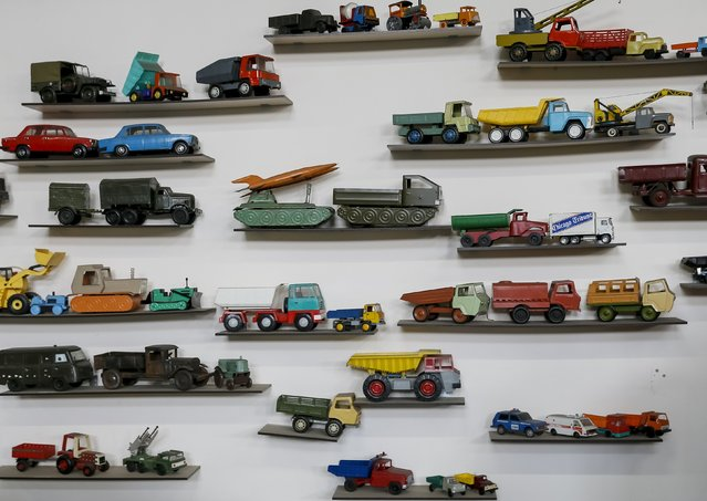 Old vehicle toys are seen at an exhibition at Phaeton museum in Zaporizhia, Ukraine, August 11, 2015. (Photo by Gleb Garanich/Reuters)
