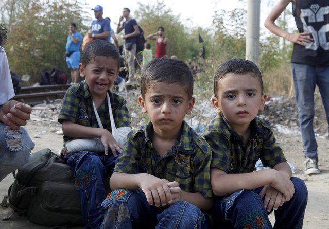 Three boys migrants wait for the rest of their family to enter into Macedonia from Greece, on the border line with Greece, near the southern Macedonia's town of Gevgelija, on Friday, August 21, 2015. (Photo by Boris Grdanoski/AP Photo)
