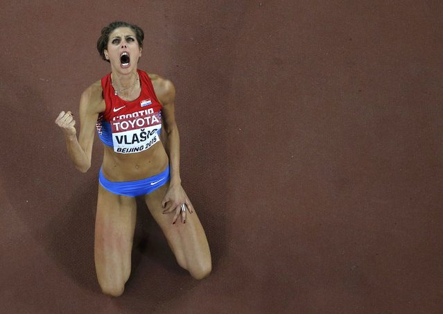 Blanka Vlasic of Croatia reacts as she competes in the women's high jump final during the 15th IAAF World Championships at the National Stadium in Beijing, China, August 29, 2015.   REUTERS/Fabrizio Bensch TPX IMAGES OF THE DAY