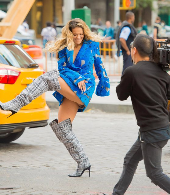 "Rita Ora is seen filming her music video ""Anywhere"" in the Meat Packing District on October 5, 2017 in New York City. (Photo by Splash News and Pictures)"