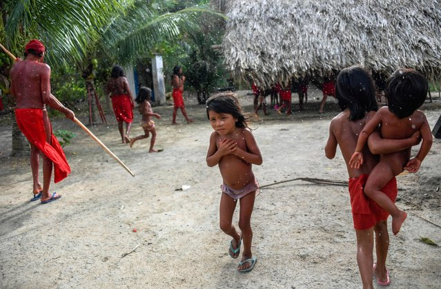 Waiapi children walk under the rain at the Manilha village, in the indigenous reserve Waiapi in Amapa state in Brazil on October 12, 2017. (Photo by Apu Gomes/AFP Photo)
