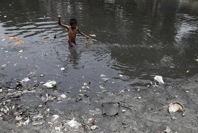 A boy searches for coins thrown by devotees as religious offerings in a polluted water channel near a temple in Kolkata June 5, 2014. (Photo by Rupak De Chowdhuri/Reuters)