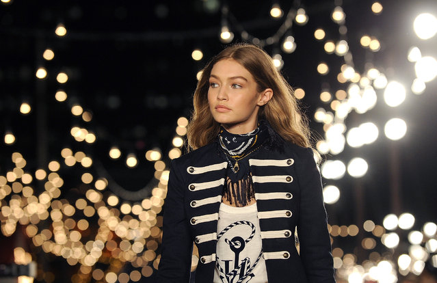 Gigi Hadid models the Tommy Hilfiger Fall 2016 collection and her TommyXGigi capsule during Fashion Week in New York, Friday, September 9, 2016. (Photo by Diane Bondareff/AP Photo)
