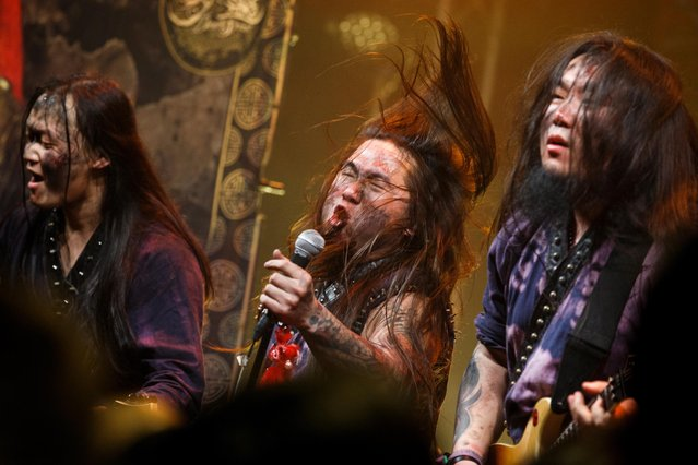 Li Shun, Shun Zi and Wang Bao of the Chinese folk-metal band Dream Spirit (梦灵) perform at the Wukesong Mao livehouse in Beijing, China, February 24, 2019. Six months of coronavirus shutdowns kept the lights off in Beijing's underground music venues, but live venues in Beijing were recently allowed to reopen at 50 percent capacity, as life in China increasingly returns to normal. (Photo by Thomas Peter/Reuters)