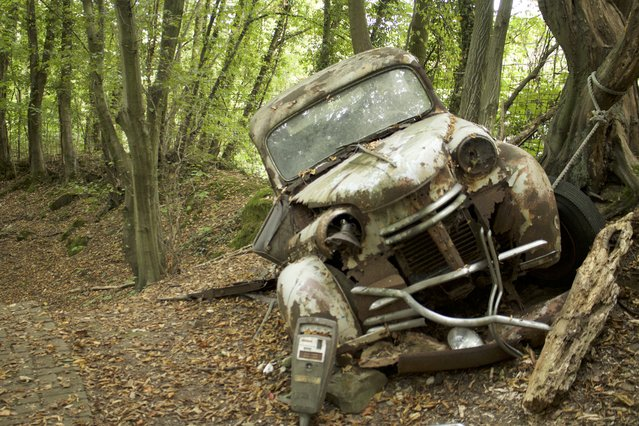 One of Michael's unnamed manufactured cars battered and broken into a tree in Neandertal Germany, September 11, 2016. (Photo by Christoph Hagen/Barcroft Images)