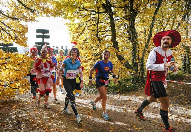 Costumed competitors run during the Marathon International du Beaujolais race near in the gardens at the castle of Pizay, November 22, 2014. Its 10th edition gathered more than 10,000 runners from 60 countries making their way on small roads, around and through the castles and vineyards, in the Beaujolais region. (Photo by Robert Pratta/Reuters)