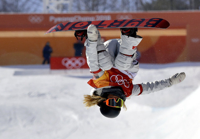 ChloeKim, of the United States, jumps during the women's halfpipe finals at Phoenix Snow Park at the 2018 Winter Olympics in Pyeongchang, South Korea, Tuesday, February 13, 2018. (Photo by Lee Jin-man/AP Photo)
