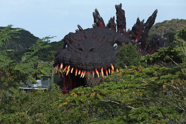 "The Godzilla replica zip-line ride as a part of ""National Awaji Island Institute of Godzilla Disaster"" is pictured at the Nijigen no Mori theme park on Awaji Island on October 11, 2020 in Awajishima, Hyogo Prefecture, Japan. ""National Awaji Island Institute of Godzilla Disaster"" featuring ""life-size"" Godzilla replica zipline is the latest addition to this park featuring attractions themed around Japanese anime works. (Photo by Buddhika Weerasinghe/Getty Images)"
