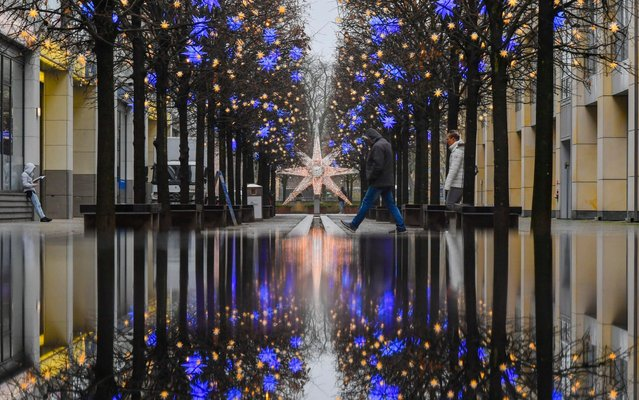 The trees inside the Dom Aquar'e are festively decorated and reflected upon the wet ground in Berlin, Germany, 5 December 2017. (Photo by by Jens Kalaene/Picture-Alliance/DPA/AP Images)