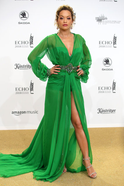 Rita Ora arrives for the Echo Award at Messe Berlin on April 12, 2018 in Berlin, Germany. (Photo by Andreas Rentz/Getty Images)