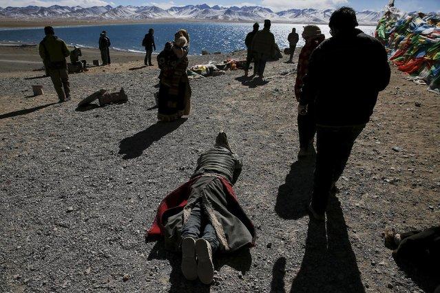 A Tibetan man prostrates himself as others circle around a rock above Namtso lake in the Tibet Autonomous Region, China November 17, 2015. (Photo by Damir Sagolj/Reuters)