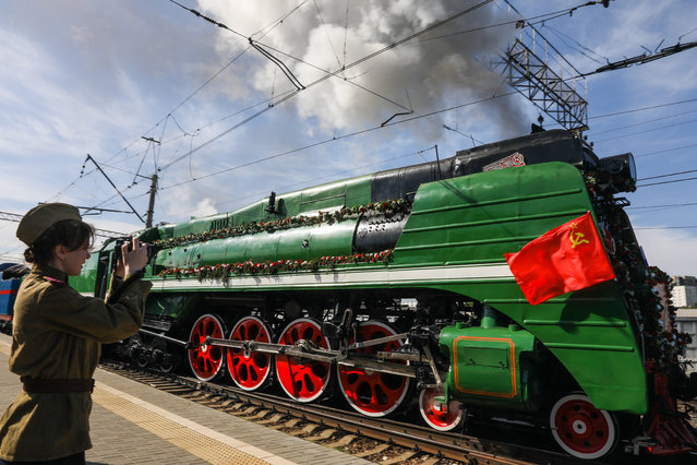 The Victory Train departs from Rizhsky Railway Station as part of the events marking the 73 rd anniversary of the victory over Nazi Germany in the Great Patriotic War of 1941-1945, the Eastern Front of World War II in Moscow, Russia on May 9, 2018. The train hauled by two P36 class steam locomotives is to make a journey from Moscow to Dubosekovo. (Photo by Mikhail Pochuyev/TASS)