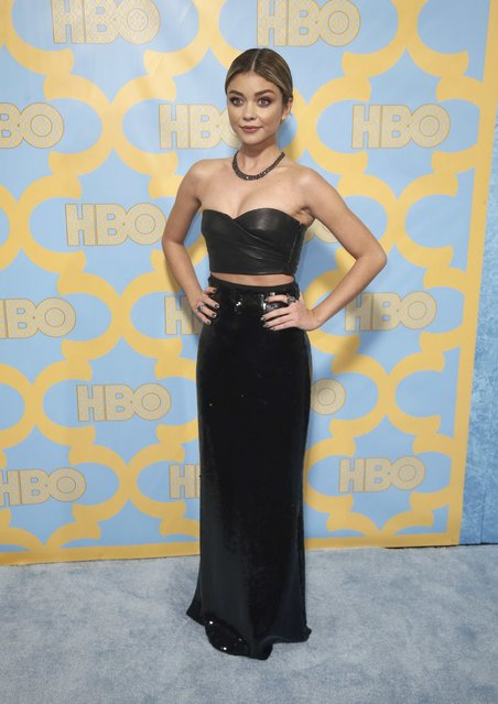 Actress Sarah Hyland poses at the HBO after party after the 72nd annual Golden Globe Awards in Beverly Hills, California January 11, 2015. (Photo by Danny Moloshok/Reuters)