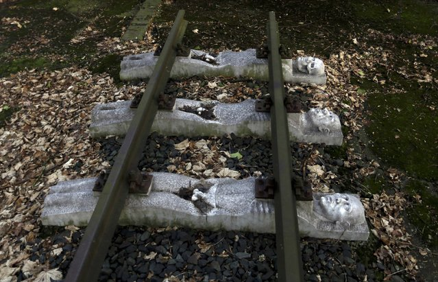 Part of a memorial to the victims of forced labour of a National Rail (Reichsbahn) workshop is seen next to a former Nazi SS guards barracks of Buchenwald concentration camp in Schwerte, near the western German town of Dortmund January 13, 2015. (Photo by Ina Fassbender/Reuters)