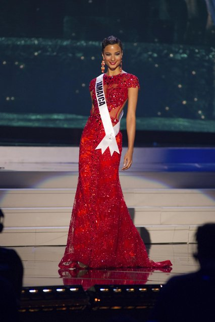 Kaci Fennell, Miss Jamaica 2014 competes on stage in her evening gown during the Miss Universe Preliminary Show in Miami, Florida in this January 21, 2015 handout photo. (Photo by Reuters/Miss Universe Organization)
