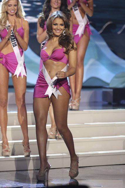 Miss Venezuela Migbelis Catellanos onstage at Florida International University on January 25, 2015 in Miami, Florida. (Photo by Alexander Tamargo/Getty Images)