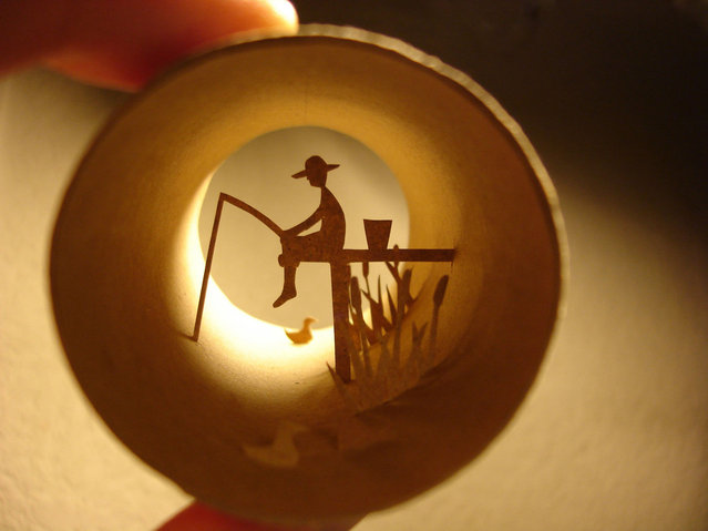 Toilet paper roll art of a fisherman. (Photo by Anastassia Elias/Caters News)