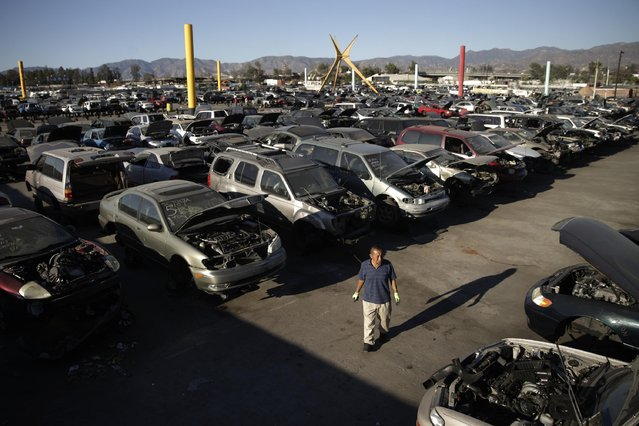 In this Wednesday, November 11, 2015 photo, a customer walks through the yard of Aadlen Brothers Auto Wrecking, also known as U Pick Parts, in the Sun Valley section of Los Angeles. The junkyard is closing on New Year's Eve, and everything must go by then, the cars, the shark, the arches, even the giant car-crushing machine. (Photo by Jae C. Hong/AP Photo)