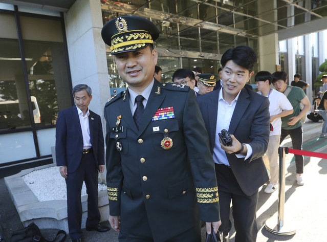 South Korean Maj. Gen. Kim Do-gyun leaves for the border village of Panmunjom to attend a joint meeting between North and South Korea to discuss how to ease military confrontations, at the Office of the South Korea-North Korea Dialogue in Seoul, South Korea, Tuesday, July 31, 2018. (Photo by Ahn Young-joon/AP Photo)