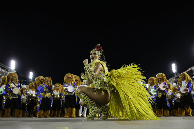 Drum queen Bruna Bruno from the Uniao da Ilha do Governador samba school parades during carnival celebrations at the Sambadrome in Rio de Janeiro, Brazil, Tuesday, February 17, 2015. (Photo by Felipe Dana/AP Photo)