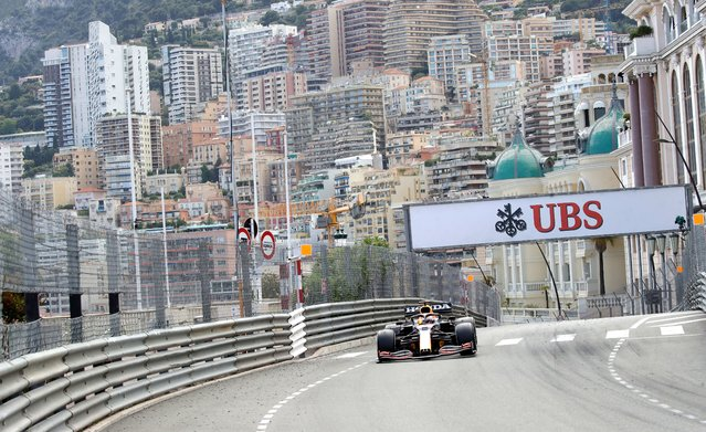 Red Bull driver Max Verstappen of the Netherlands steers his car during the Monaco Grand Prix at the Monaco racetrack, in Monaco, Sunday, May 23, 2021. (Photo by Luca Bruno/AP Photo)