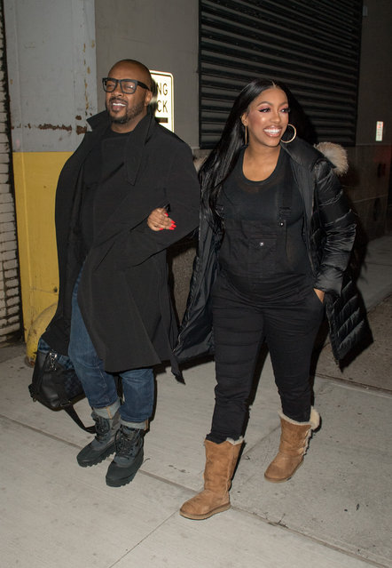 Porsha Walks out of a taping Watch What Happens Live and tells us about the pregnant life as she walks with her Fiance Dennis  McKinley on January 9, 2019. (Photo by Dario Alequin/Splash News and Pictures)