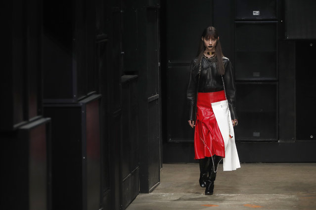 A model wears a creation as part of the Marni women's Fall-Winter 2019-2020 collection, that was presented in Milan, Italy, Thursday, Friday, February 22, 2019. (Photo by Antonio Calanni/AP Photo)