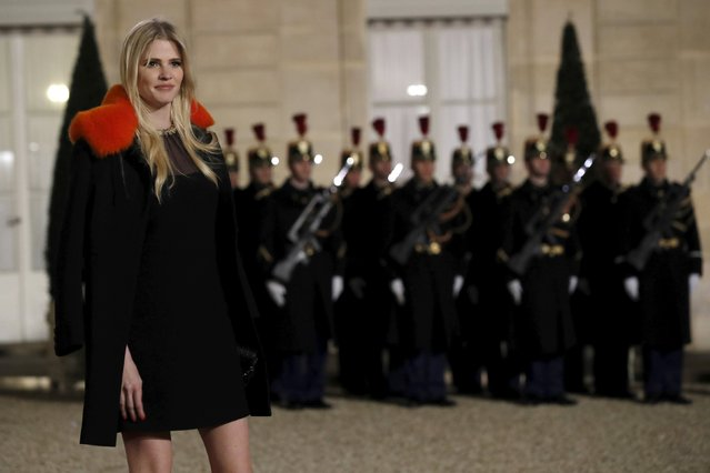 Dutch model Lara Stone arrives to attend a dinner in honour of Dutch King Willem-Alexander and Queen Maxima at the Elysee palace in Paris, France, March 10, 2016. (Photo by Philippe Wojazer/Reuters)