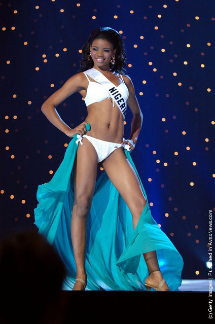 Roseline Amusu, Miss Nigeria 2005, competes in her BSC Swimsuit and Nina Shoes during the 2005 Miss Universe Presentation Show at Impact Arena, Exhibition and Convention Center May 26, 2005 in Bangkok, Thailand. During the presentation show, each Miss Universe 2005 contestant will be judged by a preliminary panel of judges in individual interview, swimsuit and evening gown categories. The 54th annual Miss Universe competition will be held in Bangkok on May 31