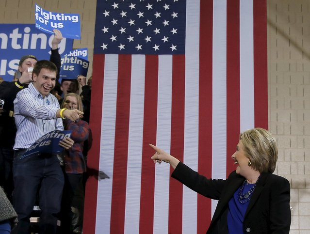 U.S. Democratic presidential candidate Hillary Clinton arrives at a campaign event in Milwaukee, Wisconsin, United States, March 28, 2016. (Photo by Jim Young/Reuters)