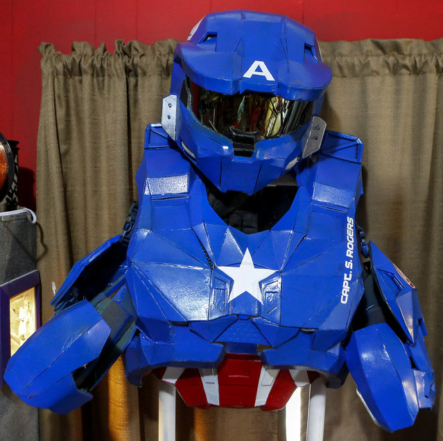 In this photo taken April 8, 2015, a costume mimicking the appearance of Master Chief, the main protagonist of the Halo game series, is displayed on a stand in Clay Hielscher's home in Overbrook, Kan. (Photo by Chris Neal/AP Photo/The Topeka Capital-Journal)