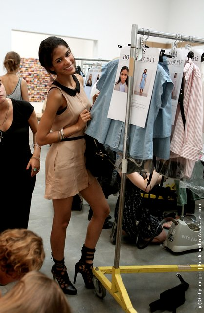 Models pose backstage Spring 2012 fashion show during Mercedes-Benz Fashion Week