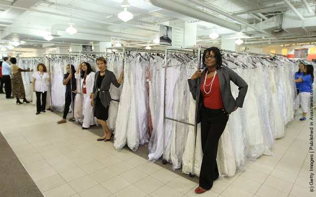 Employees wait for the rush of Brides at Filene's Basement's annual sale