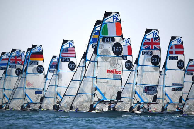Annalise Murphy and Katie Tingle of Ireland in action at the start of a 49erFX class race on May 15, 2019 in Weymouth, England. (Photo by Clive Mason/Getty Images)