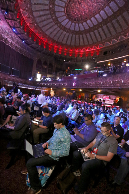 Gamers gather at the Xbox-sponsored PC Gaming Show at E3 2015 in Los Angeles on Tuesday, June 16, 2015. (Photo by Casey Rodgers/Invision for Microsoft/AP Images)