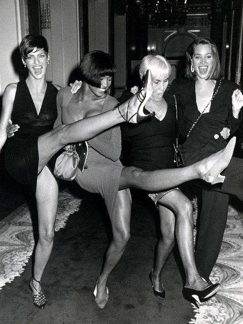"Linda Evangelista, Naomi Campbell, Polly Mellon, and Christy Turlington, The Fashion Group International's 6th Annual ""Night of 100 Stars"" at the The Plaza Hotel in New York City, New York on October 29, 1989. (Photo by Ron Galella/WireImage)"