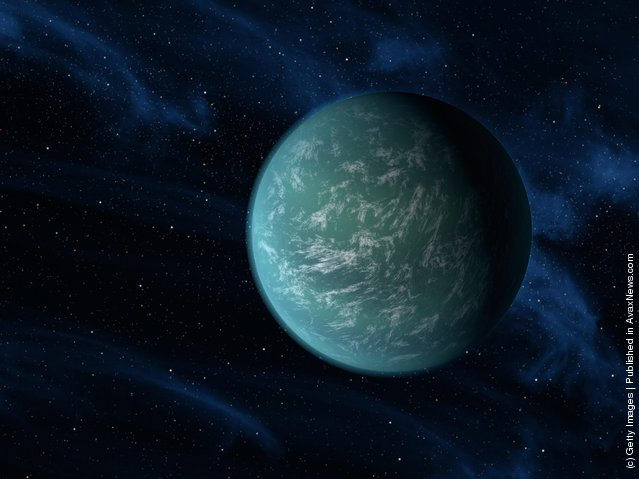 The Kepler-22b, a planet known to comfortably circle in the habitable zone of a sun-like star is digitally illustrated