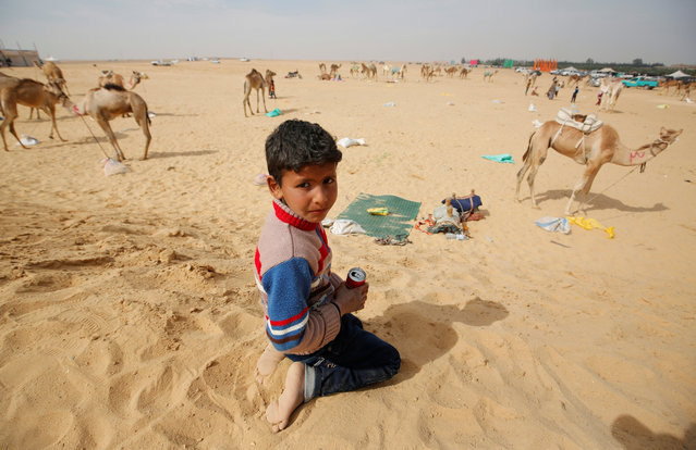 Yousef, a 7-year-old jockey, looks on during the opening of the International Camel Racing festival at the Sarabium desert in Ismailia, Egypt, March 21, 2017. (Photo by Amr Abdallah Dalsh/Reuters)