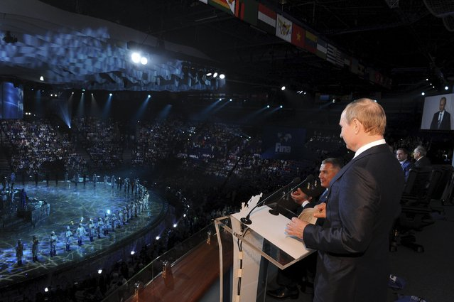 Russian President Vladimir Putin speaks at the opening ceremony for the 16th FINA World Championships in Kazan, Russia, July 24, 2015. (Photo by Mikhail Klimentyev/Reuters/RIA Novosti/Kremlin)
