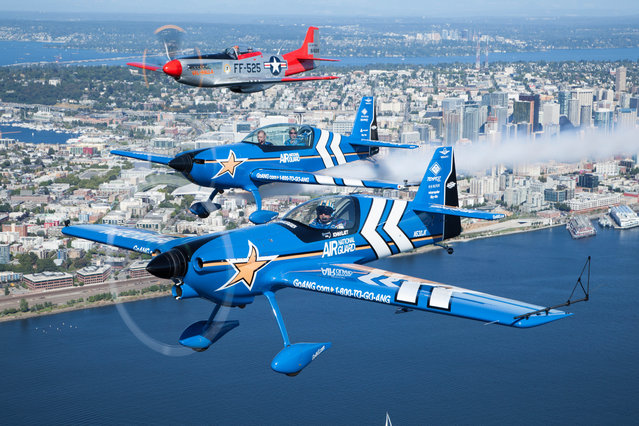 Air National Guard flies with Heritage Flight Museum's historic P-51 Mustang at Seafair 2015 on Thurs., July 30, 2015 in Seattle, Wash. (Photo by Matt Mills McKnight/Invision for John Klatt Airshows, Inc./AP Images)