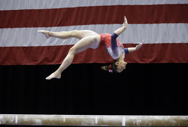 Maggie Nichols competes on the balance beam during the U.S. women's gymnastics championships Sunday, June 26, 2016, in St. Louis. (Photo by Jeff Roberson/AP Photo)