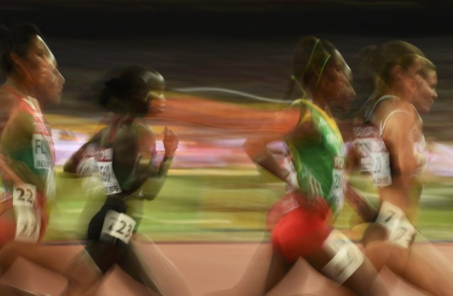 Athletes compete in the women's 10,000 metres final during the 15th IAAF World Championships at the National Stadium in Beijing, China August 24, 2015. (Photo by Dylan Martinez/Reuters)