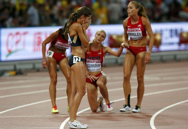 Gesa Felicitas Krause of Germany reacts after finishing third in the women's 3,000 metres steeplechase final during the 15th IAAF World Championships at the National Stadium in Beijing, China August 26, 2015. (Photo by David Gray/Reuters)
